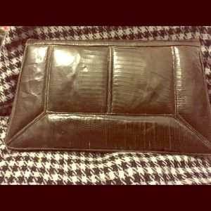 Vintage clutch  1940s green snakeskin and leather